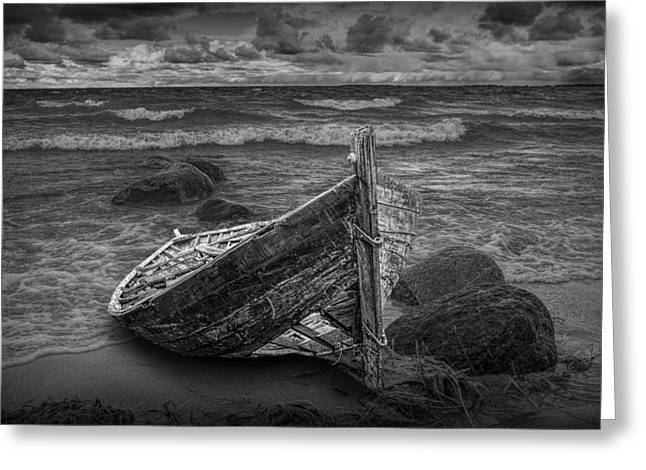 Randy Greeting Cards - Lake Michigan Boat Shipwreck Greeting Card by Randall Nyhof
