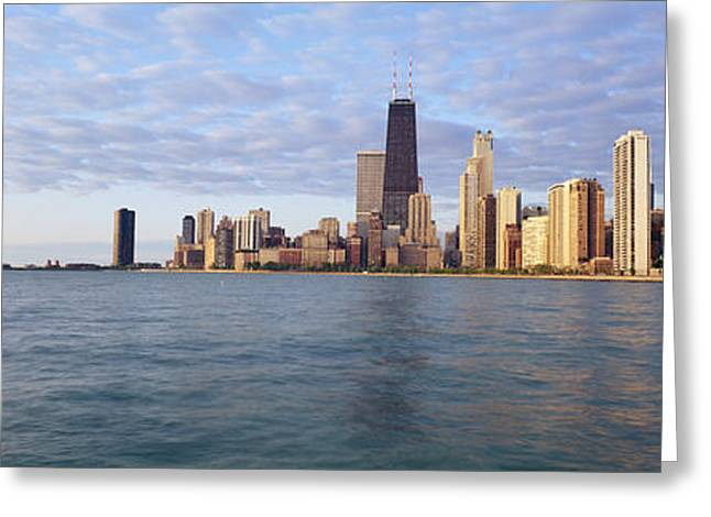 City Buildings Greeting Cards - Lake Michigan Chicago Il Greeting Card by Panoramic Images