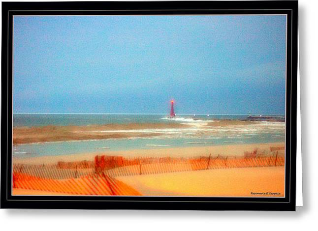 Sand Fences Paintings Greeting Cards - Evening Blue Hour On Lake Michigan Muskegon Pier Light House Greeting Card by Rosemarie E Seppala
