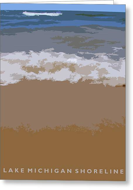 Landscape. Scenic Digital Art Greeting Cards - Lake Michigan Shoreline Greeting Card by Michelle Calkins