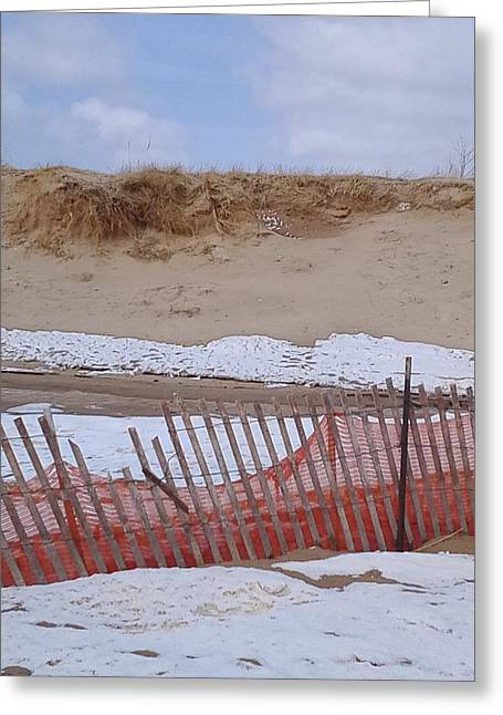Sand Fences Mixed Media Greeting Cards -  Spring Beach  Greeting Card by Erica  Darknell