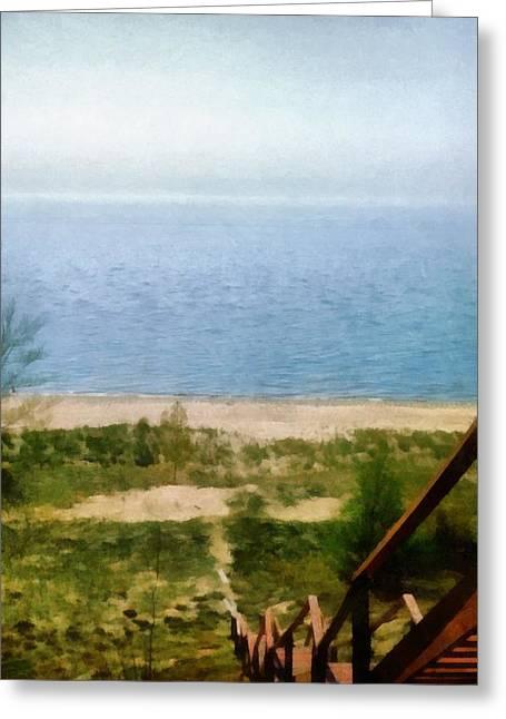 Seaside Digital Art Greeting Cards - Lake Michigan Staircase Greeting Card by Michelle Calkins