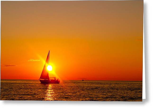 Lake Michigan Sunset Greeting Card by Bill Gallagher