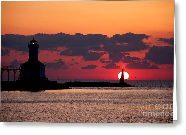 Indiana Springs Digital Art Greeting Cards - Lake Michigan Sunset Greeting Card by Lynne Dohner