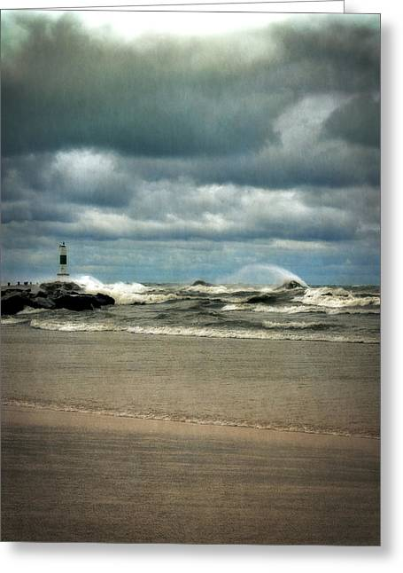 Michelle Greeting Cards - Lake Michigan with Big Wind  Greeting Card by Michelle Calkins