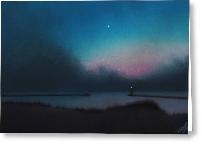 Chicago Pastels Greeting Cards - Lake Michigan with Evening Star Greeting Card by Robin Street-Morris
