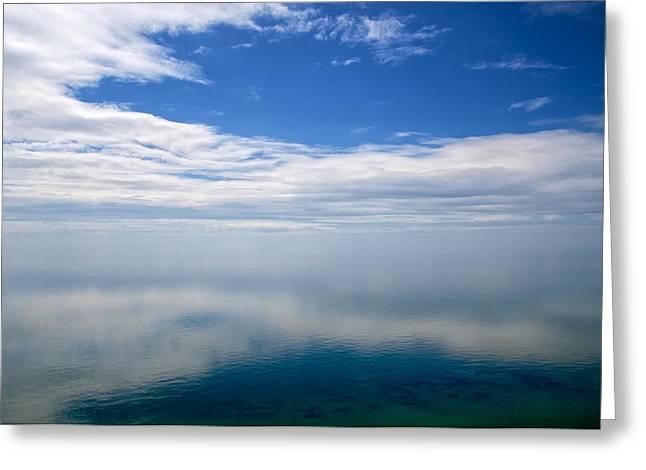 Lake Michigan's Lost Horizon Greeting Card by Mary Lee Dereske
