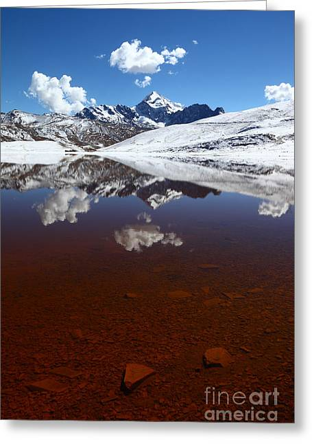 Contamination Greeting Cards - Lake Milluni and Mt Huayna Potosi Greeting Card by James Brunker