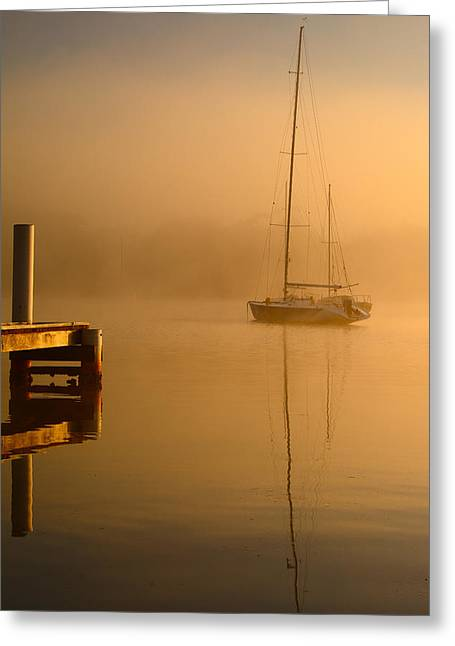Boats At Dock Greeting Cards - Lake Mist Greeting Card by Darren Howse