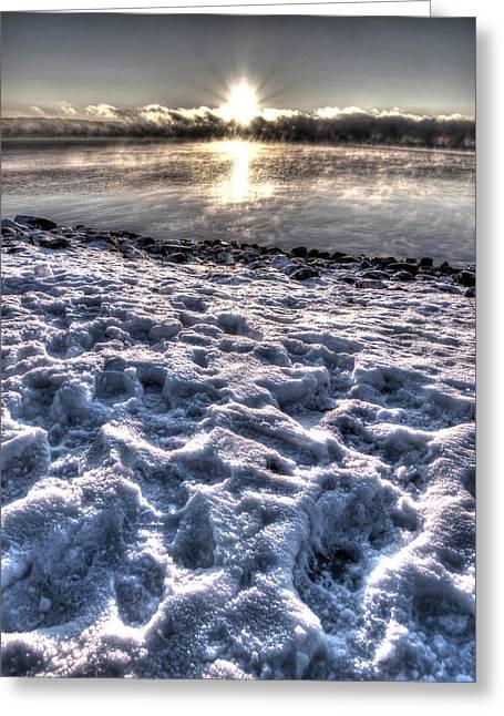 Lake Mjosa Sunset Greeting Card by Chris Shirley