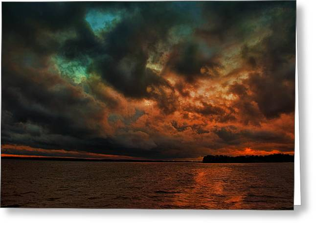 Storm Clouds Digital Art Greeting Cards - Lake Murray Fire Sky Greeting Card by Steven Richardson