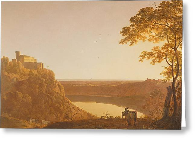 Italian Lake Greeting Cards - Lake Nemi At Sunset, C.1790 Oil On Canvas Greeting Card by Joseph Wright of Derby