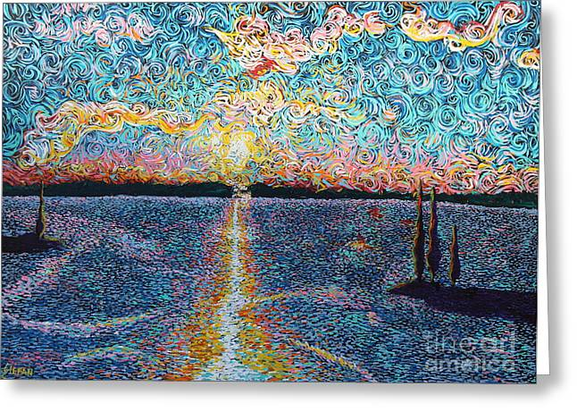 Squiggleism Greeting Cards - Lake Norman Sunset Greeting Card by Stefan Duncan