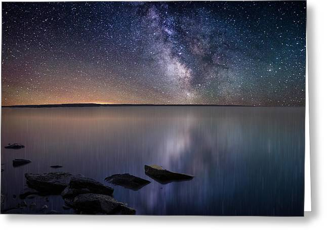 Star Greeting Cards - Lake Oahe Greeting Card by Aaron J Groen