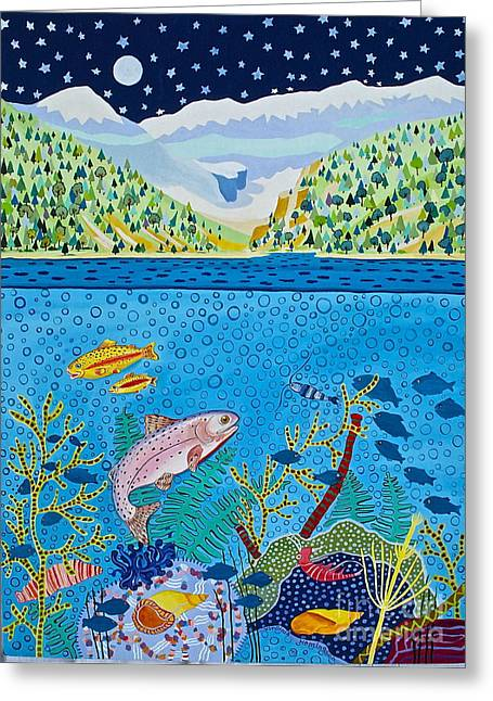 Canmore Artist Greeting Cards - Lake of Little Fishes Greeting Card by Virginia Ann Hemingson