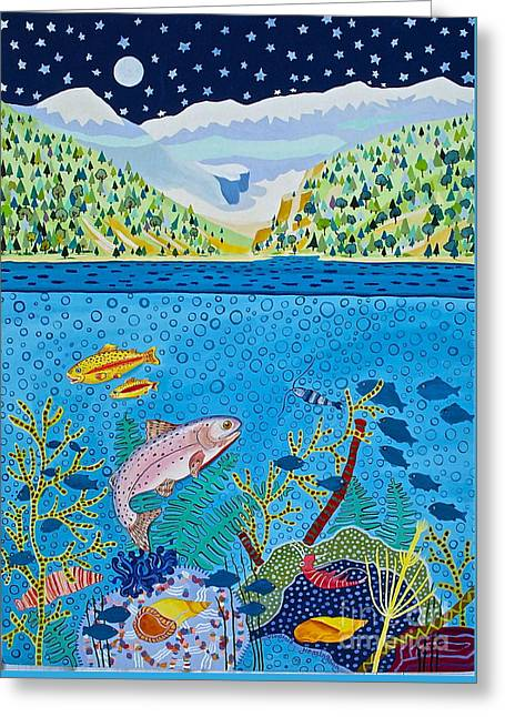 Lake Of Little Fishes Greeting Card by Virginia Ann Hemingson