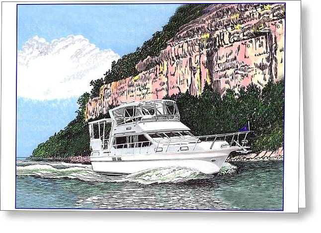 Many Drawings Greeting Cards - Lake of the Ozarks Yachting Greeting Card by Jack Pumphrey