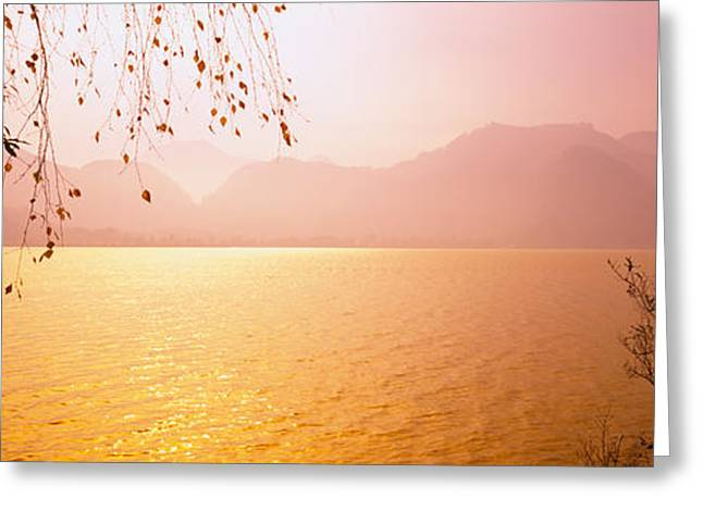 Salzburg Greeting Cards - Lake On The Mountainside, Mondsee Greeting Card by Panoramic Images