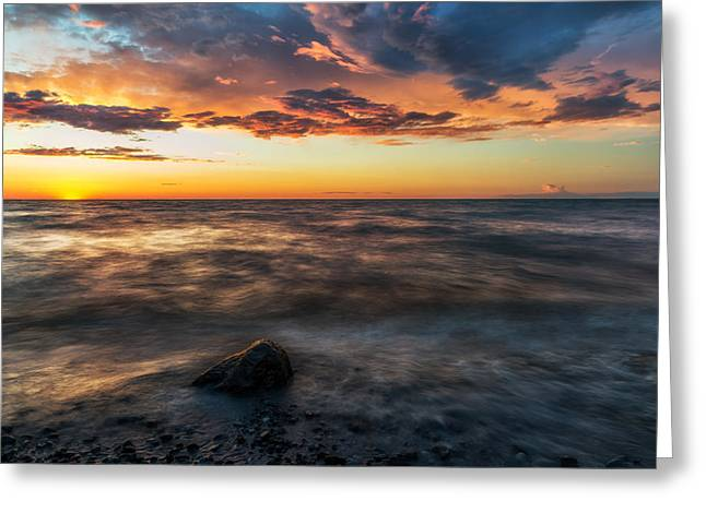 Chimney Rock State Park Greeting Cards - Lake Ontario Sunset 2 Greeting Card by Mark Papke