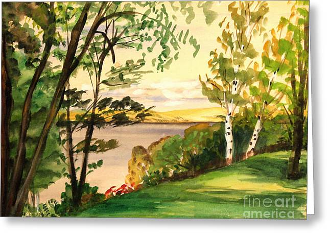 Hamlin Lake Greeting Cards - Lake Overlook Michigan Greeting Card by Art By Tolpo Collection