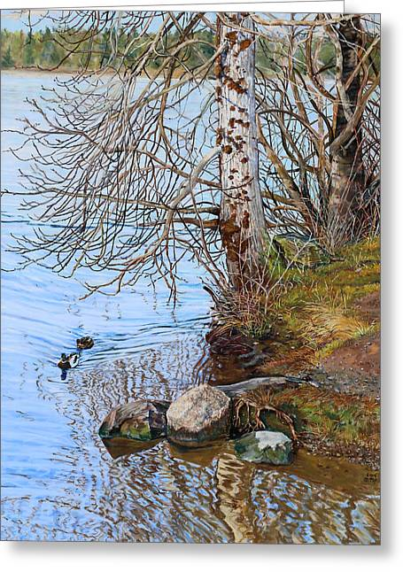Winter Park Pastels Greeting Cards - Lake Padden - view near Scott memorial bench Greeting Card by Nick Payne