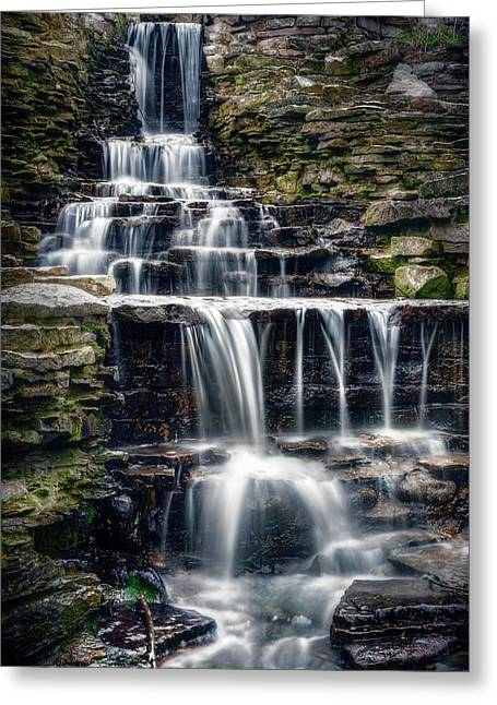Lake Park Waterfall Greeting Card by Scott Norris