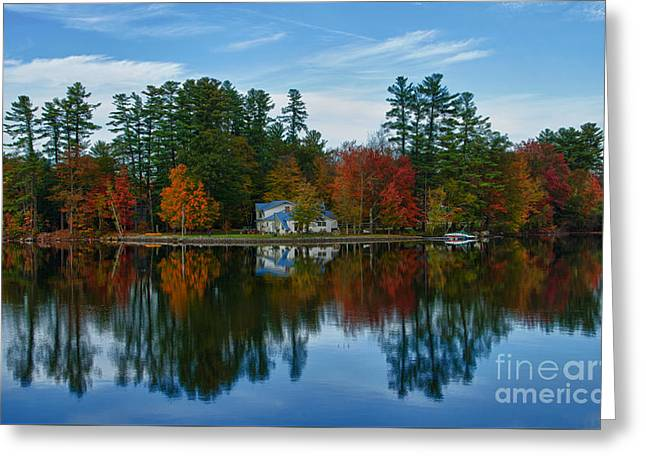 Maine Lake Greeting Cards - Lake Pennasseewassee With Fall Foliage Greeting Card by Bill Bachmann