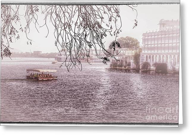 Boat Cruise Greeting Cards - Lake Pichola in Udaipur Greeting Card by Catherine Arnas