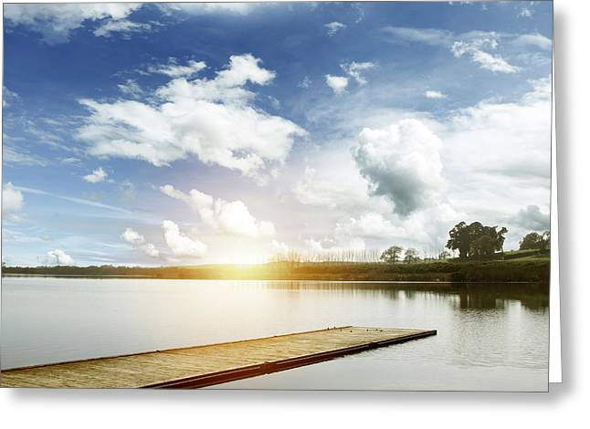 Beauty Greeting Cards - Lake pier Greeting Card by Les Cunliffe