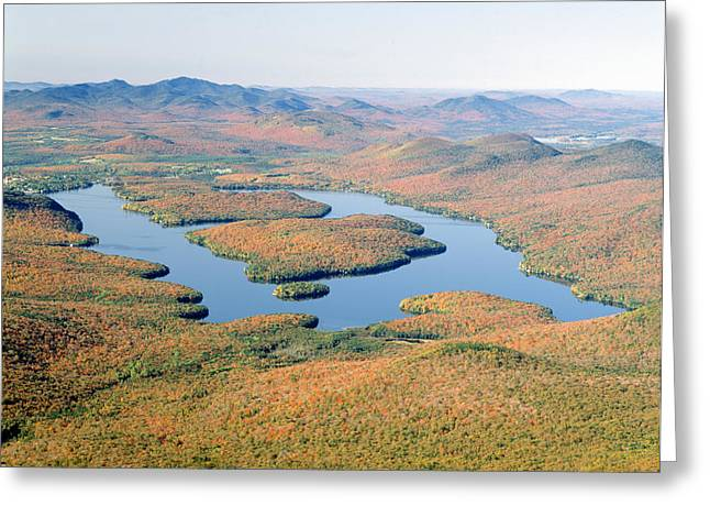 White Face Mountain Greeting Cards - Lake Placid In Autumn, Adirondack, New Greeting Card by Panoramic Images