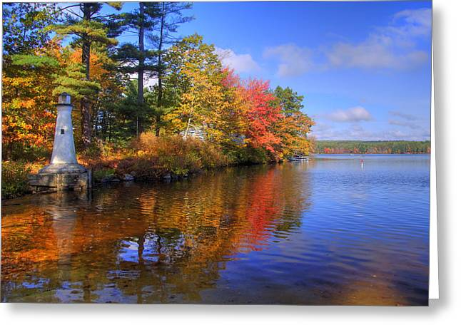 Autumn Scenes Greeting Cards - Lake Potanipo Lighthouse Greeting Card by Joann Vitali