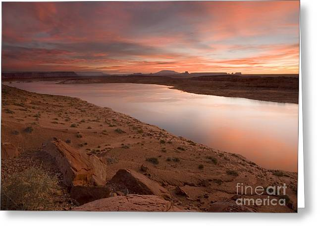 Sandstone Bluffs Greeting Cards - Lake Powell Dawning Greeting Card by Mike  Dawson