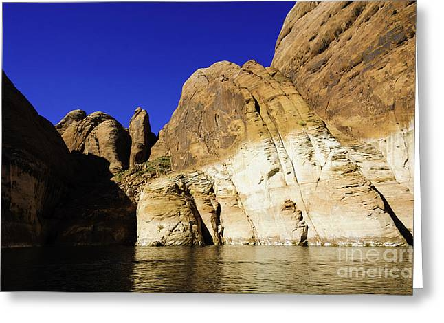 Desert Lake Greeting Cards - Lake Powell Rock and Sky Greeting Card by Thomas R Fletcher