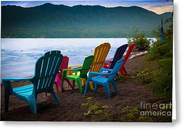 Olympic Peninsula Greeting Cards - Lake Quinault Chairs Greeting Card by Inge Johnsson