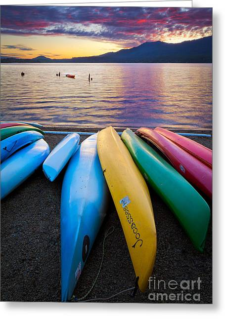 Washington Beauty Greeting Cards - Lake Quinault Kayaks Greeting Card by Inge Johnsson
