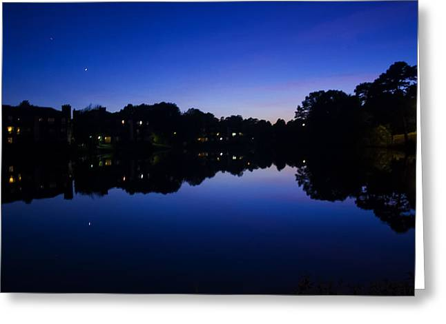 Charlotte Digital Art Greeting Cards - Lake Reflection At Dusk Greeting Card by Chris Flees