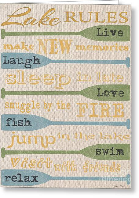 Flour Sack Greeting Cards - Lake Rules-A Greeting Card by Jean Plout