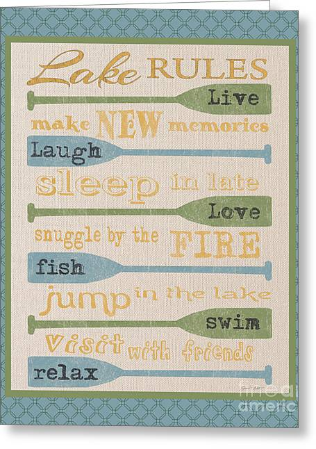 Flour Sack Greeting Cards - Lake Rules-D Greeting Card by Jean Plout