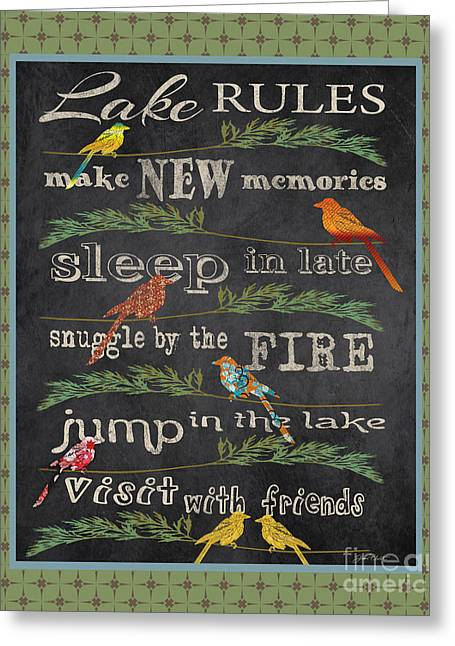 Flour Sack Greeting Cards - Lake Rules with Birds-A Greeting Card by Jean Plout
