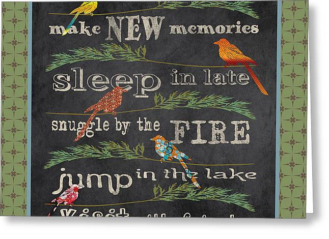 Flour Greeting Cards - Lake Rules with Birds-A Greeting Card by Jean Plout