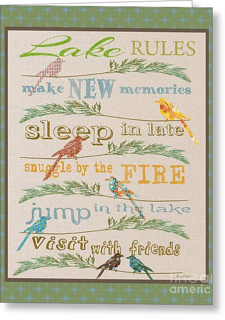 Flour Sack Greeting Cards - Lake Rules with Birds-B Greeting Card by Jean Plout
