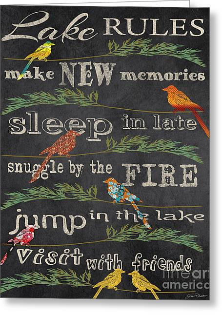 Flour Sack Greeting Cards - Lake Rules with Birds-D Greeting Card by Jean Plout