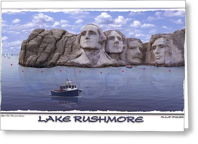 Jefferson Greeting Cards - Lake Rushmore Greeting Card by Mike McGlothlen