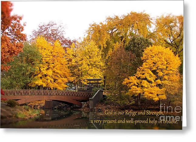 Pond In Park Greeting Cards - Lake Sacajawea  Japanese Garden  Greeting Card by Beverly Guilliams
