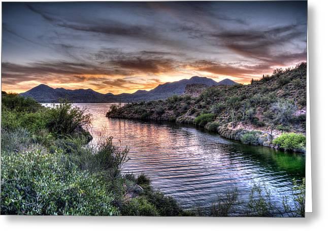 Desert Lake Greeting Cards - Lake Saguaro Sunset Greeting Card by Anthony Citro