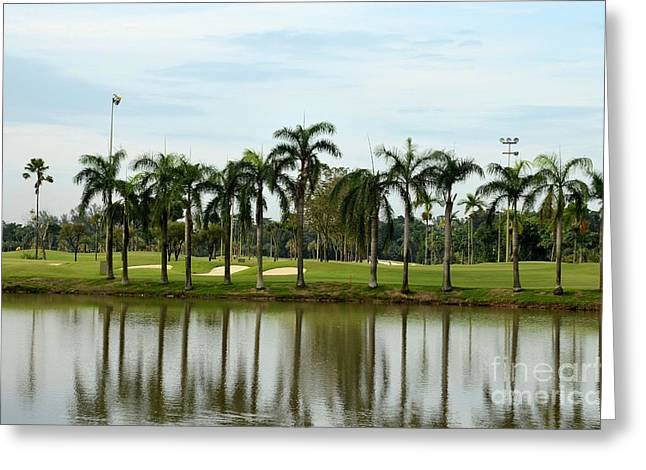 Tropical Golf Course Greeting Cards - Lake sand traps palm trees and golf Greeting Card by Imran Ahmed