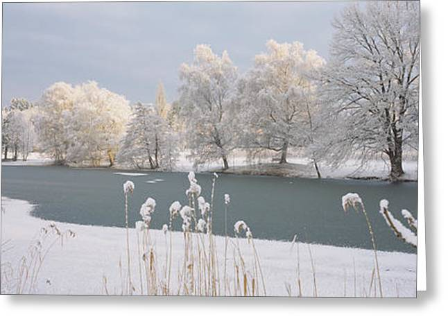 Snow Covered Ground Greeting Cards - Lake Schubelweiher Kusnacht Switzerland Greeting Card by Panoramic Images