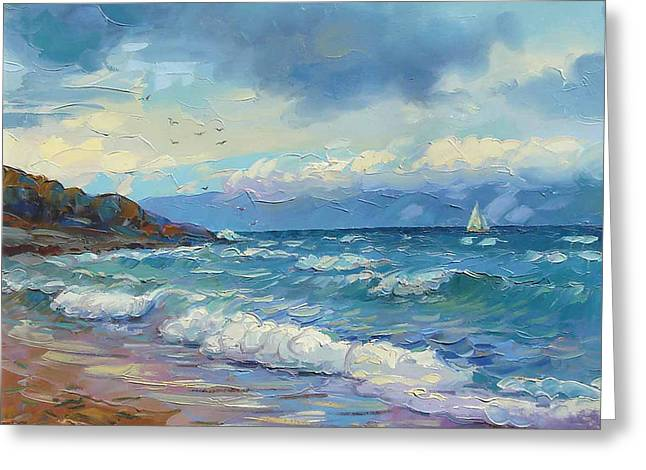 Storm Prints Paintings Greeting Cards - lake Sevan at stormy weather Greeting Card by Meruzhan Khachatryan