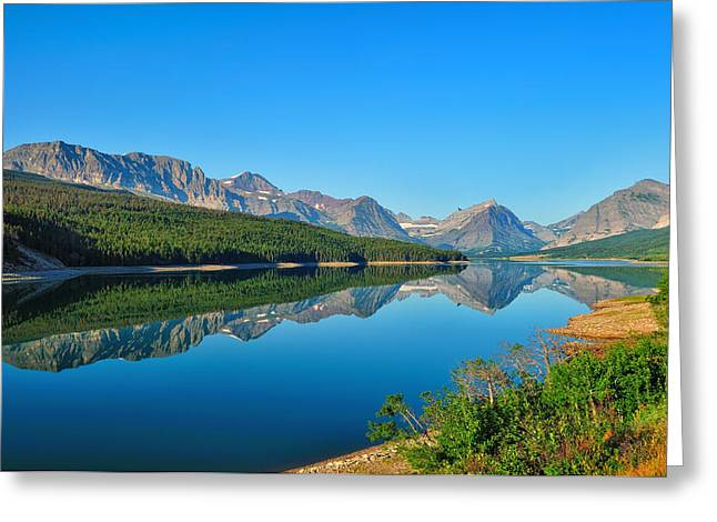 Landscape Art Greeting Cards - Lake Sherburne Greeting Card by Greg Norrell
