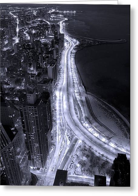 Air Photographs Greeting Cards - Lake Shore Drive Aerial  B and  W Greeting Card by Steve Gadomski